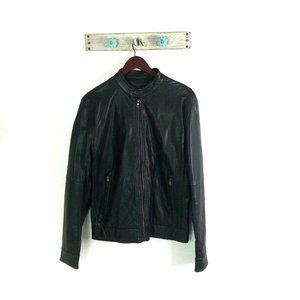 Michael Kors S Brown Vegan Leather Bomber Jacket